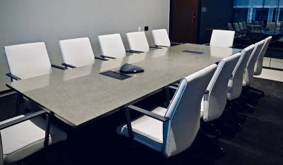 Cream-Marfil-Quartz-Table-Tops-Conference-Room
