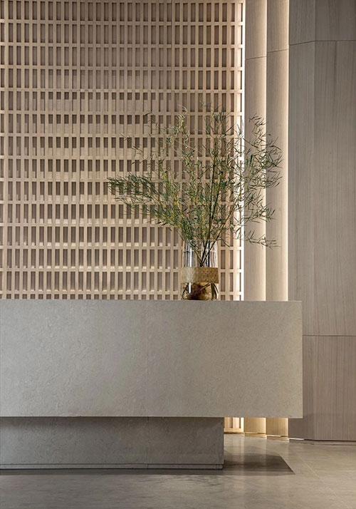 beige quartz counters for reception area