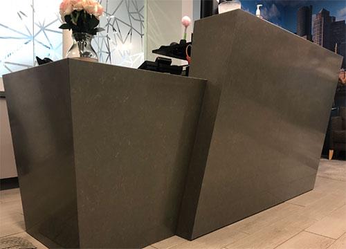 brown quartz counters for reception area