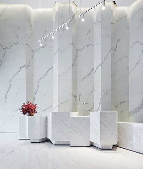calacatta quartz counters for reception area