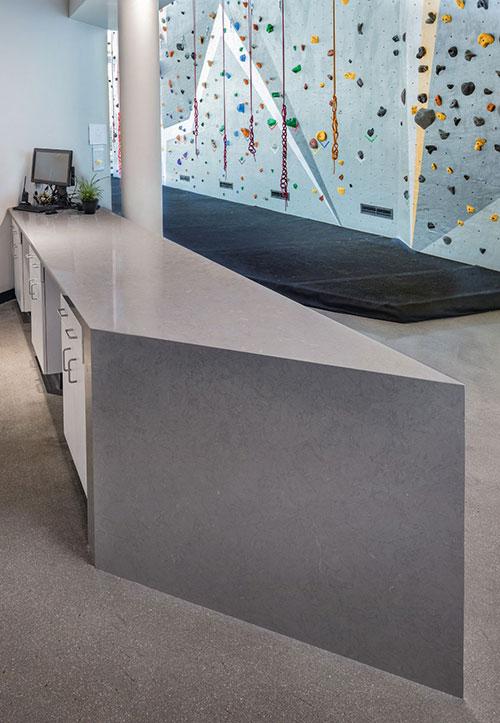 grey quartz counters for reception area