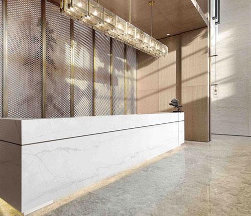 white quartz counters for reception area